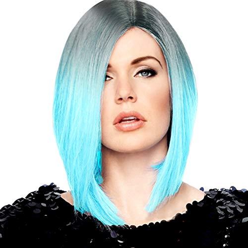 YEMOCILE Damen kurze Locken stilvoll schick Glatt Künstlich Haar Perücke Blau - Abba Shampoo
