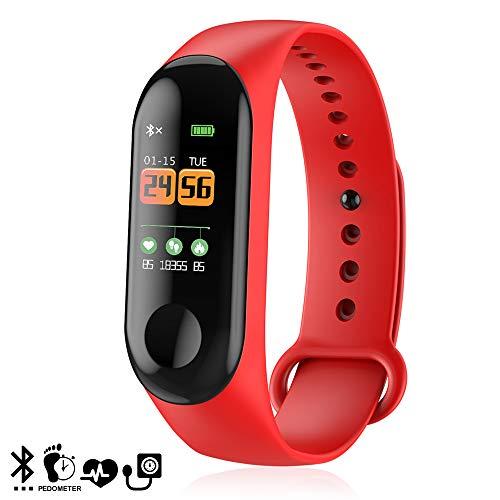 dam. dmz055red. bracciale intelligente m3 con monitor dell'ossigeno nel sangue, display a colori e notifiche. rosso
