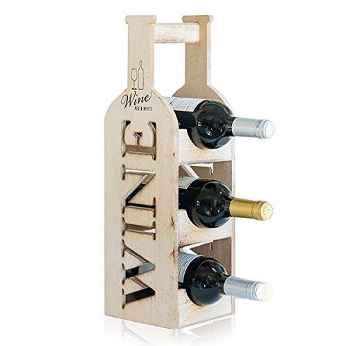 Weinflaschenhalter Flaschenständer aus Holz - Flaschen Transportbox für Zuhause Camping und Garten...