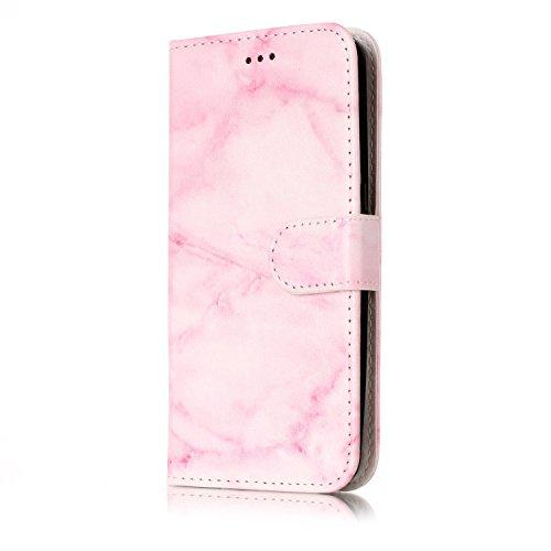 Chreey Samsung Galaxy S7 Hülle, Marmor (Marble) Serie Muster Premium PU Leder Schutzhülle Brieftasche Flip Handyhülle [Rosa Marmor]