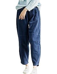 Youlee Mujeres Baja Entrepierna Pantalones de Pana Algodón Pantalones Harem 74d36c6e645