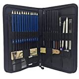 Kit di matite per schizzi, set di matite per disegni artistici con borsa con cerniera e forniture artistiche, set di matite per carboncino per artisti, principianti, hobbisti e studenti (40 pezzi)