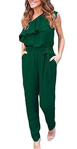 Minetom Mujer Verano Atractivo Mono Color Sólido Jumpsuits Elegante One-Hombro Bodysuit Pantalones...