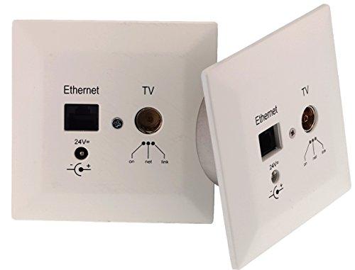 Digital Devices Poli Coax 500 Erweiterung-Set - Powerline Unterputzdose (DVB-C, Netzwerk, Internet, Koaxial-Kabel) 2X Dosen, Weiß, 24 Volt