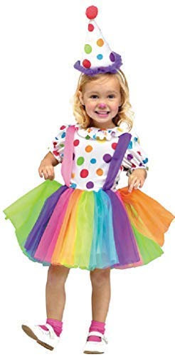 Big Kostüm Clown Top - Kleinkind Mädchen Big Top Clown Cutie Zirkus Gepunktet Leuchtend Kostüm Kleid Outfit 3-4 Years