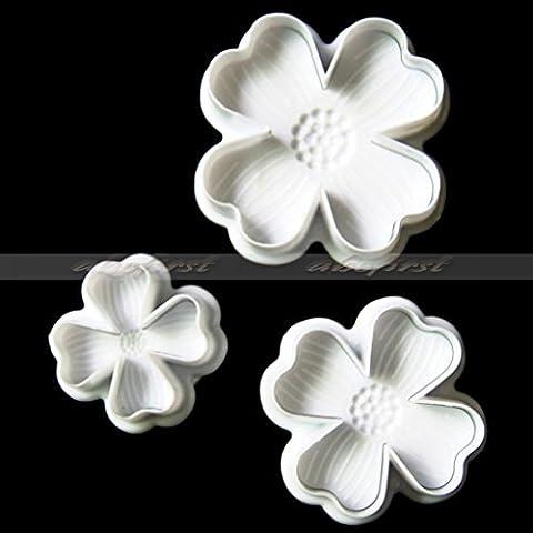 Generic 3Pcs/Set 4 Petals Heart Shape Flower Cutter Fondant Cake Sugarcraft Decorating Plunger Tools