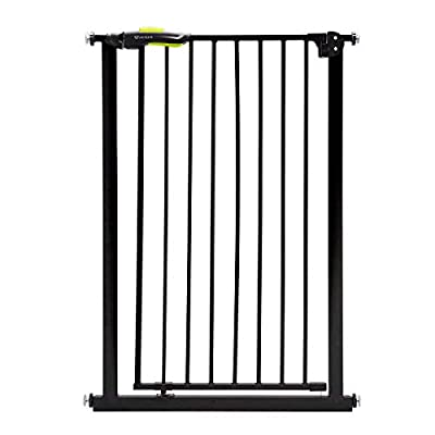 Venture Q-Fix Extra Tall Pressure Fit Pet Safety Gate | 75-84cm Wide, 110cm Extra Tall | Unique 90° Two Way Open/Stay Door, Auto Close Fuction (Black, 75-84cm) Dog Gate  Denny Shop