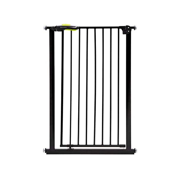 "Venture Q-Fix Extra Tall Pressure Fit Pet Safety Gate | 75-84cm Wide, 110cm Extra Tall | Unique 90° Two Way Open/Stay Door, Auto Close Fuction (Black, 75-84cm) Dog Gate Venture Expands to fit openings, doorways and hallways 75-84 cm wide; stands 110 cm tall. and is suitable for Larger Pets and Toddlers This tall gate must be fully assembled in opening. See user manual. - **New Unique 90° Two Way Open and Stay Door** Pressure mounted ""wall saver"" design is easy to set up with no tools requires; Also, includes 4 wall cups for added security 1"