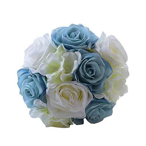 Amyseller romantique Bouquet de mariage Fleurs Artificielles nombreuses soyeux de mariage bouquets de demoiselle d'honneur, bleu/blanc, diameter 6.2\