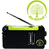 NEW Re-Wind Wind-Up Solar Rechargeable Portable AM/FM Radio with USB Charging Port (Cable Included) - No Batteries Required - Ideal for Walking, Hiking, Camping, Beach, Garden, Caravans - 2 Years Worldwide Warranty Included