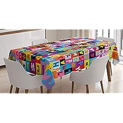 ABAKUHAUS des Gamins Nappe, Puzzle Alphabet Coloré, Résistant aux Taches avec Impression à Pointe de Technologie, 140 x 240 cm, Multicolore