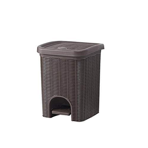 JJSFJH Outdoor-Mülleimer für Patio-Rattan-Treteimer Abfalleimer mit Deckelgebrauch im Wohnzimmer Küche Badezimmer Schlafzimmer Büro Badezimmer (Farbe : Schwarz)