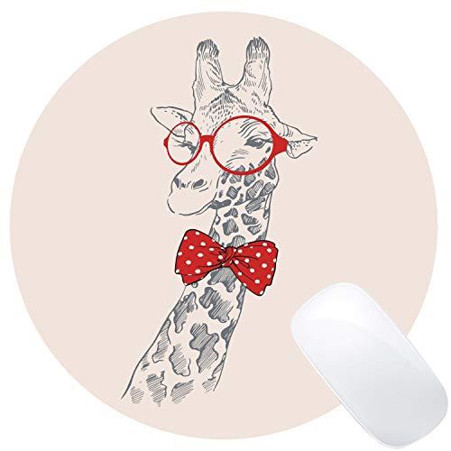 Muccum Lustige Giraffe mit Brille Malerei Mauspad Rund Mauspad Custom Design