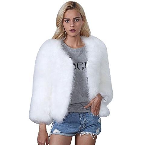 Femme Fille Manteau Automne Hiver mode Court Veste Fourrure Fausse Chaud Blouson Veston matelassé grande taille (S, Blanc)