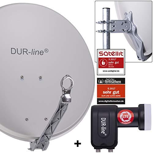 DUR-line 2 Teilnehmer Set - Qualitäts-Alu-Satelliten-Komplettanlage - Select 60cm/65cm Spiegel/Schüssel Hellgrau + Twin LNB - für 2 Receiver/TV [Neuste Technik, DVB-S2, 4K, 3D]