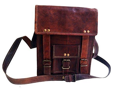 28 cm Hecha a mano Marron elegante Bolso de cuero del mensajero para portátiles cada día Bolso de...
