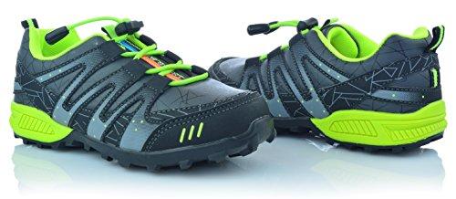 Kinderschuhe Jungen Freizeitschuhe Sneakers Gummizug Schnellverschluss Gr. 25-30 Grau
