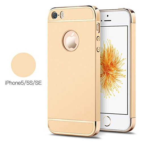 Ron Plastic 3-in-1 Shockproof Dual Layer Thin Back Cover for Apple iPhone 5/5S/SE (Gold)