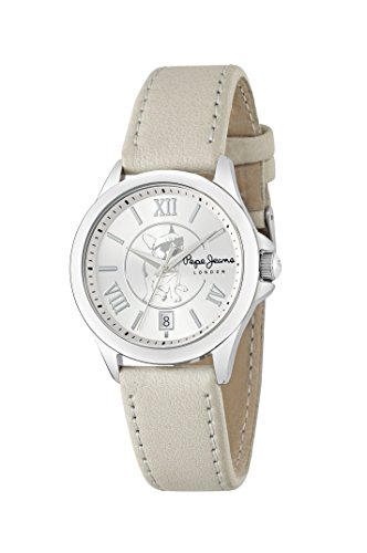 Pepe Jeans Katy Women's Quartz Watch with Silver Dial Analogue Display and Grey Leather Strap R2351114503