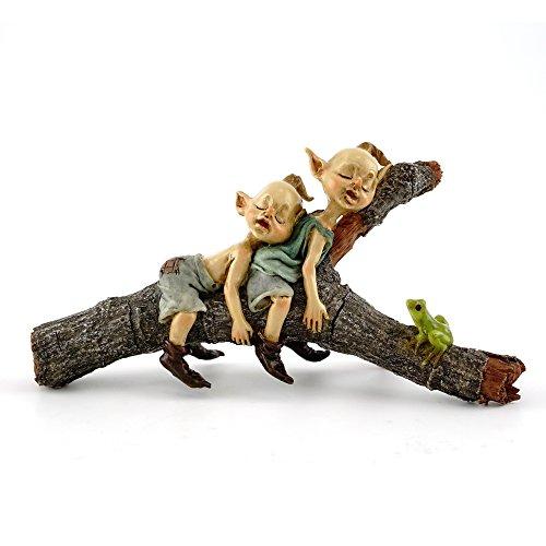 Top Collection Miniatur-Statue für Märchengarten und Terrarium - Feen, schlafend auf Baumstamm, klein