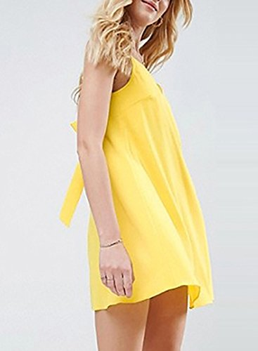 Azbro Women's V Neck Back Bow Solid Mini Dress Yellow