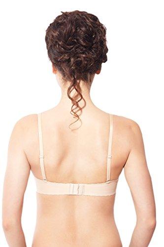 Rosme Reggiseno Push-Up senza cuciture da donna con bretelle staccabili e fascia in silicone Beige