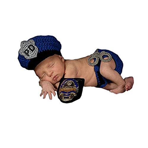 Mode Polizei Kostüm Hut - Yzibei Schön Neugeborenes Baby Jungen Fotografie Prop Crochet Gestrickte Polizei Hut Windel Fotografie Requisiten Outfits