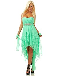 4833 Fashion4Young Damen Bandeau Kleid Vokuhila Abendkleid Party Chiffon Spitze Schulterfrei