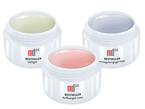 3 x 15ml - nd24 BESTSELLER - GEL SPAR-PACK SET - HaftGel + AufbauGel rosa + finish VersieglerGel - Made in Germany - säurearm selbstglättend