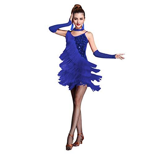 Waltz Kostüm Ballroom - Xinvivion Latin Dance Dress for Women - Waltz Ballroom Dancing Practice Costume Squin Tassel Dancewear