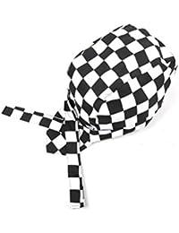 LEORX Catering cráneo tapa Chefs a cuadros sombrero turbante para la cocina (blanco + negro)