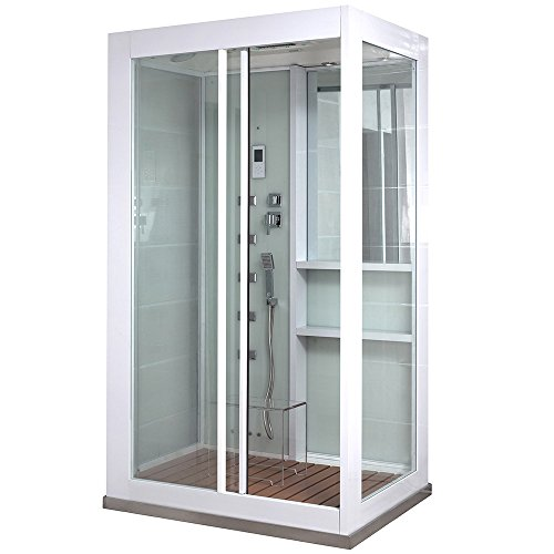 Home Deluxe - Duschkabine - White Luxory XL - Maße: 120 x 90 x 220 cm - inkl. Dampfsauna und komplettem Zubehör