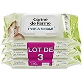 Corine de Farme Set de 3 Lingettes Change Fresh & Natural Parfumées au Calendula Apaisant avec Dévidoir - Lot...