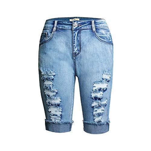 YJiaJu Hot Sexy Elastic Wash Abgenutzte Frauen Denim Cropped Hosen Hohe Taille Geschreddert Jeans Frühling Sommer Shorts (Color : Blue, Size : XXL) -