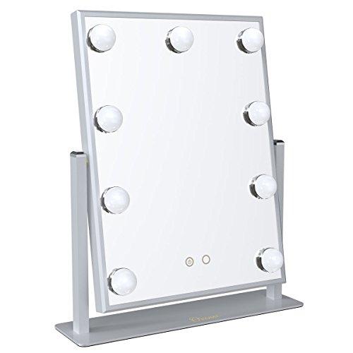 Ovonni Spiegel Bleuchtung mit 9 LED Lampen Warmes/Kaltes Licht Kosmetikspiegel Schminkspiegel für...