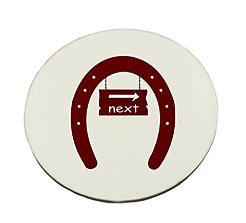 Circle Mousepad with The image of a signboard with the word next in a horseshoe . I used OCAL clipart called Fer A Cheval uploaded by jdaniel . Thanks.
