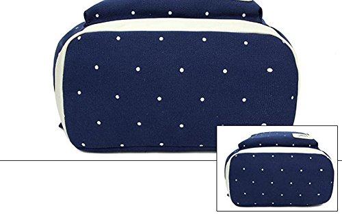 LAAT Packung von 3 Student Casual Schultasche Canvas Schulter Rucksack leichte Laptop Tasche Schultertasche Geldbörse Unisex dunkelblau