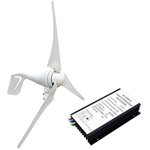 Aerogenerador eólico ECO-WORTHY, 12 V/24 V, 400W, 3 aspas, con controlador de carga híbrido,...