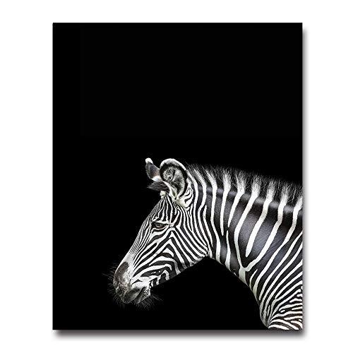 Leinwanddrucke,Tier Zebra Schwarz Weiße Wand Kunst Leinwand Poster Prints Minimalistischen Abstrakte Malerei Wand Bild Wohnzimmer Home Decor (Zebra-print-leinwand-wand-kunst)