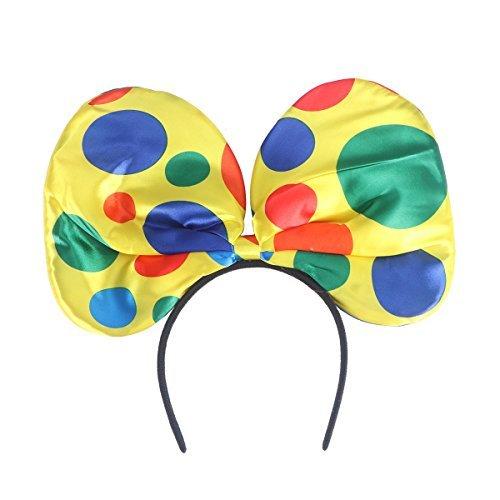 Tinksky costume da clown, fascia per capelli, fascia per capelli per carnevale, papillon, fascia per la fronte, circo, orecchio, grandi fasce per cosplay, masquerade, taglia unica