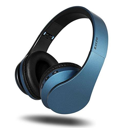 Cuffie wireless con auricolari, JIUHUFH Cuffie Bluetooth pieghevole con microfono incorporato / Cuffie con cavo audio da 3,5 mm / Comodi auricolari per PC / telefoni cellulari - Blu