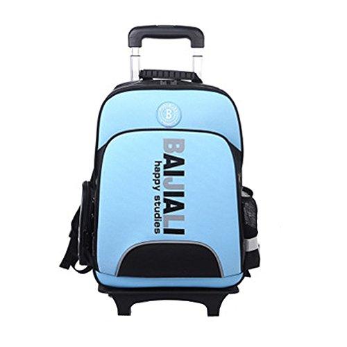 YAAGLE Sicherheit Teleskopgriff Kinder Rucksack Trolley-Tasche mehrfarbig Damen und Herren Unisex 1-6 Klasse Schulrucksack Reisetasche-blau