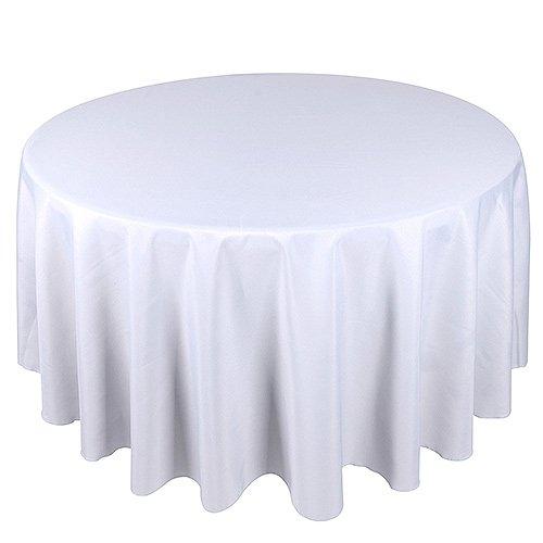Sterling Mill Runde Tischdecke, nahtloses Finish, Polyester, für Abendessen, Bankette, Hochzeits- und Verlobungspartys -Weiß & Schwarz, Polyester, weiß, 108
