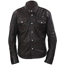 Stile denim uomo casual camicia marrone in pelle Jeans Jacket XL