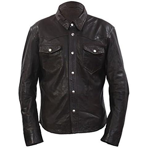 Stile denim uomo casual camicia marrone in pelle Jeans Jacket