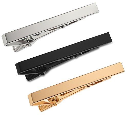 Lot de Pinces à Cravate 3 Pièces 5.4 CM Argent, Noir et Or avec Boîte Cadeau