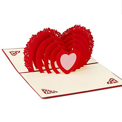 kofun-Grußkarte, 3D Pop-Up-Karte Herzen zu Herzen Geburtstag Valentinstag Jahrestag Thank You - Machen Pop-up-karten Halloween Zu