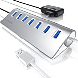 CSL - aktiver USB 3.0 7 Port Hub inkl. Netzteil 5V/2A | 7-Port Verteiler | Notebook / Netbook / Laptop / Ultrabook / Tablet-PC / iMac, Macbook (Air, Pro, Mini) | bis zu 5 Gbit/s |silber (Aluminium gebürstet)