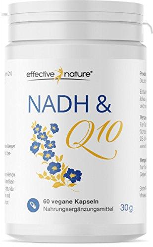 effective nature NADH & Q10 Coenzyme | Coenzym Präparat ohne Einsatz chemischer Zusatzstoffe | 60 Vegane Kapseln - Hergestellt in Deutschland