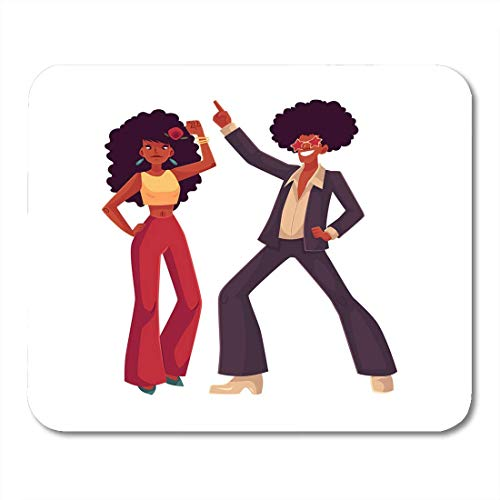Deglogse Gaming-Mauspad-Matte, Man and Woman with Afro Hair and 1970S Dancing Disco Cartoon White Young and in Flares with African Mouse Pad,Desktop Computers Mouse Mats, (1970 Mens Hair)